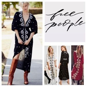Free People Fable Embroidered Maxi Dress.  NWT.